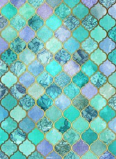 Cool Jade & Icy Mint Decorative Moroccan Tile Pattern Art Print by Micklyn - oooh perfect for mermaid bathroom :) Tile Patterns, Pattern Art, Pattern Cutting, Marble Pattern, Cool Patterns, Pattern Design, The Magic Faraway Tree, Mermaid Bathroom, Mermaid Tile