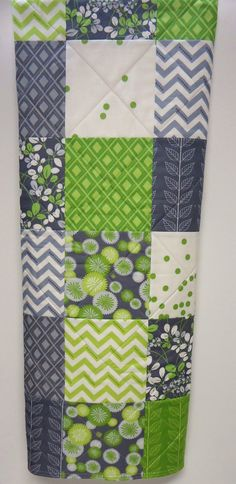 Modern Baby Quilt, Crib Quilt, Gray or Grey Lime Green, Chevron, Polyester Free. $89.00, via Etsy.