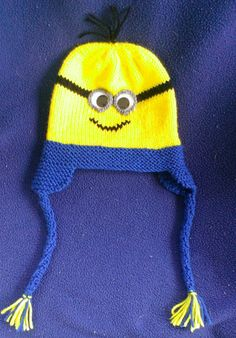 Hand-knitted Yellow Minion Kids Earflap Hat With by knitbyneedles