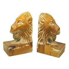 Pair Of Italian Rough Carved Wooden Lion's Head Bookends For Sale | Antiques.com | Classifieds Price: $150.00