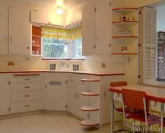 retro+kitchen+1940 | Vintage Red Kitchen...red trim idea...add a pop of red without it being overwhelming