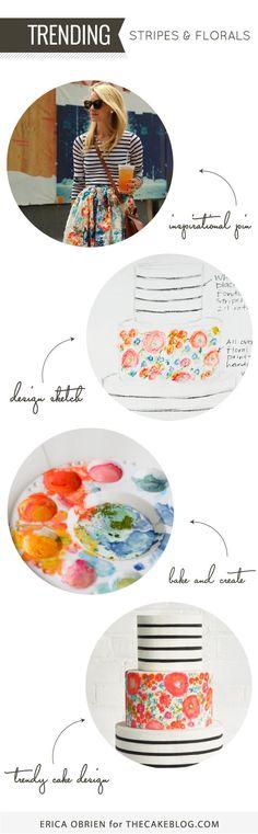 Translating Trends into Cake Designs | Stripes & Florals | Erica OBrien for TheCakBlog.com