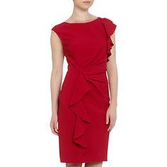 Buy Adrianna Papell Ruffle Shift Dress, Garnet Online at johnlewis.com