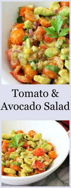 Tomato and Avocado Salad - A light, creamy flavorful salad with tomatoes, avocado and onion.