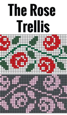 Rose Trellis chart for hand or machine knitting. Free chart for rose trellis Rose Trellis chart for hand or machine knitting. Free chart for rose trellis Motif Fair Isle, Fair Isle Chart, Fair Isle Pattern, Knitting Charts, Knitting Stitches, Free Knitting, Knitting Patterns, Knitting Machine, Intarsia Patterns