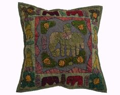 """""""16"""" INDIAN ELEPHANT COTTON EMBROIDERD PILLOW CUSHION COVER VINTAGE DECOR ETHNIC 