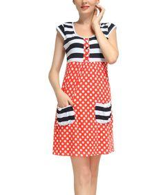 Look what I found on #zulily! Navy & Red Polka Dot Cap-Sleeve Dress - Women #zulilyfinds