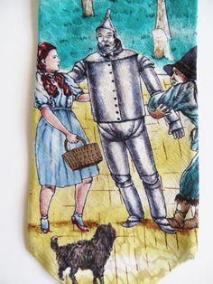 Vintage Silk Wizard of Oz Necktie, Dorothy Toto Lion Scarecrow, American Film Classics, Movie Cinema, Turner Entertainment, Novelty Necktie by TomCatBazaar on Etsy