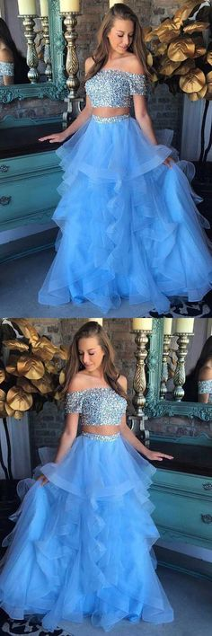Two Piece Off-the-Shoulder Blue Tulle Prom Dress with Sequins,812823