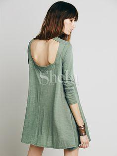 Green Long Sleeve Backless Casual Dress -SheIn(Sheinside)