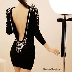 Sexy Backless Plastic Pearl Beaded Dress