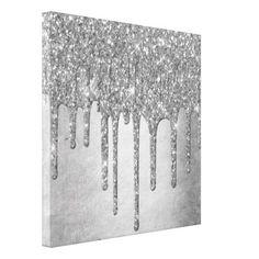 Silver Drip | Platinum Sparkle Metallic Glitter Canvas Print