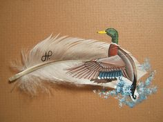 Duck painted on feather  www.TelascoGallery.com Hand painted one of a kind.  Matted and framed.