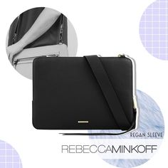 Genuine leather laptop Sleeve featuring Rebecca Minkoff signature details. Now, new in stock! Regan Sleeve for Macbook 13 inch  Available in Black Pebble Leather