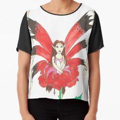 Rose Secret Fairy Chiffon Top Chiffon Shirt, Chiffon Tops, Long Hoodie, Wearable Art, Laptop Sleeves, Legends, Classic T Shirts, Shirt Designs, Mini Skirts
