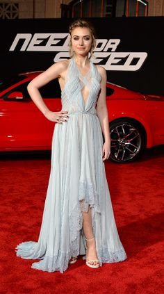 Imogen Poots was a vision at the Need for Speed premiere in LA in an ethereal light-blue Nina Ricci spring 2014 chiffon-and-lace gown with a rise-and-fall hemline, which she paired with Givenchy heels.