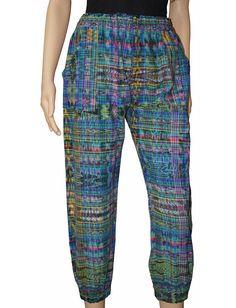 Vintage 80s GUATEMALAN COTTON Striped Drawstring Pants sz M/L cgrkw9DpRP