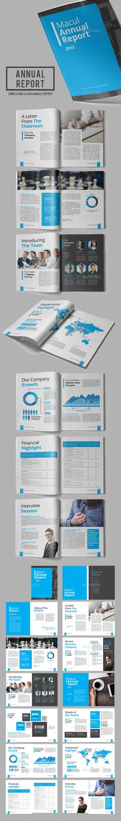 Macul Annual Report Template InDesign INDD #design Download: http://graphicriver.net/item/macul-annual-report/13628647?ref=ksioks