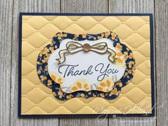 handmade thank you card from Megumi's Stampin Retreat . luv the deep puffy look of the Tufted Embossing folder . clean and simple layout . Stampin' Up! Diy Cards, Your Cards, Handmade Cards, Thank U Cards, Embossed Cards, Get Well Cards, Sympathy Cards, Embossing Folder, Stampin Up Cards