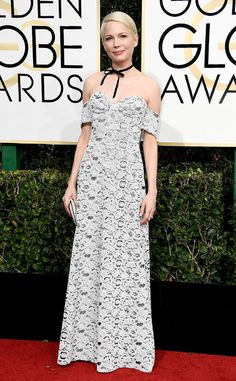 Michelle Williams from Best Dressed at Golden Globes 2017  The actress just elevated the choker trend to high-fashion heights. We could see wearing this off-the-shoulder printed frock to many different kinds of occasions.