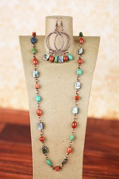 Long Necklace, Abalone, Magnesite, Goldstone, Burnt Orange, Teal, Copper Necklace, Earrings