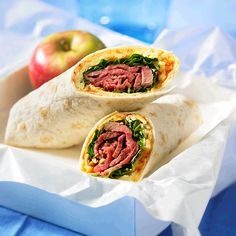 By adding cashews, pepper jelly and watercress to these Beef 'n Fine Cheddar Wraps, your lunch bag looks soooo grown up! And the Canadian beef and aged Cheddar combination the recipe uses it makes them soooo good for you. Use very thinly sliced roast beef for the wraps so that they don't get too bulky when rolling up. You can use deli roast beef if you don't have any leftover roast.