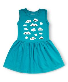 Love this Aqua Clouds Dress - Toddler & Girls by Mokuyobi Threads on #zulily! #zulilyfinds