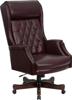 High Back Traditional Tufted Burgundy Leather Executive Office Chair This Tufted High Back Executive Office Chair combines old world craftsmanship with century ergonomic seating principles, giving you a chair that feels as good as it Adjustable Office Chair, Swivel Office Chair, Ergonomic Office Chair, Executive Office Chairs, Home Office Chairs, Home Office Furniture, Office Desk, Library Furniture, Paint Furniture