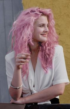 Drew Barrymore + pink hair = perfect.