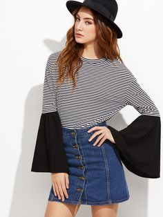 10$  Buy now - http://did4q.justgood.pw/go.php?t=9421 - Contrast Striped Drop Shoulder Bell Sleeve T-shirt