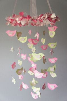 Crib Mobile Pink & Green Birds by LoveBugLullabies on Etsy, $55.00