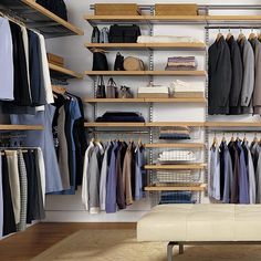 For a mid-range closet system, the Elfa range at the Container Store includes individual components and custom solutions like the Birch and Platinum Elfa Decor Master Walk-In Closet