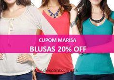 Cupom de desconto Marisa, ganhe 20% de desconto na compra de blusas femininas.   http://desconto.gratis/cupom/cupom-marisa-20-desconto-blusas/  #desconto #marisa #cupons #blusas #cupomdedesconto #moda #modafeminina