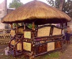 """Filipino outdoor exotic hut """"bahay kubo"""" design in the Philippines - great for tropics! I can smell the fresh air from the sea breeze or country side and drinking my fresh coconut juice.it makes me missing home! Bahay Kubo Design, Filipino Architecture, Bamboo Roof, Bamboo House Design, Open Concept Home, Modern Bedroom Design, Affordable Furniture, Tropical Houses, Small Living Rooms"""