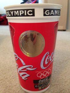 1996 Atlanta Olympic Games Olympics Cup w/ Coca Cola Swimming Hologram Logo