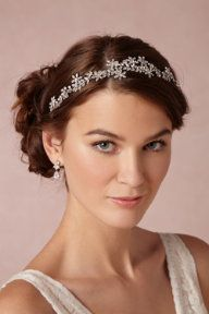 BHLDN Portici Halo Feather Wedding Bridal Headpiece Fascinators Accessories Crystal Hairpin Fashion Barrette Elbow Length Layer Lace White