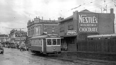 Footscray's local trams ran from 1921 to 1962 before they gave way to the motor vehicle. The 82 Footscray - Moonee Ponds route is the sole survivor from this era Melbourne Victoria, Victoria Australia, Melbourne Suburbs, The 'burbs, Great North, Old Photos, Vintage Photos, The Old Days, Old Buildings