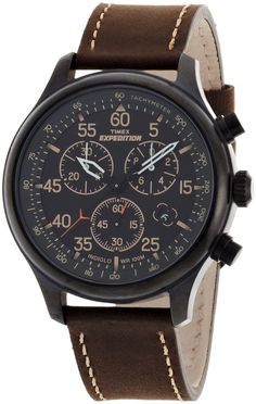 ($80.00) Timex Men's Expedition Rugged Field Chronograph Black Dial Brown Leather Strap Watch