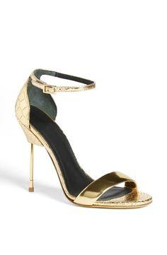 Metallic, gold sandal.