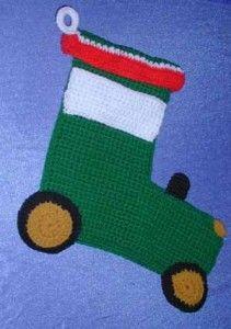 John Deere Tractor Stocking on Marlo's Crochet Corner - part of a great roundup of free stocking patterns on mooglyblog.com