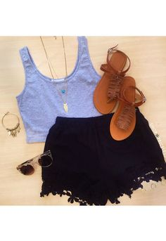 Janice Lace Shorts - Black