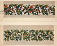 Hem pattern with jasmine flowers, hem pattern with ivy and oak leaves and acorns, 19th century