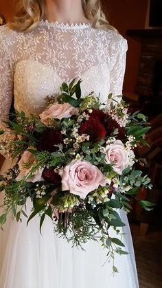 Burgundy and blush bridal bouquet! Burgundy and blush bridal bouquet! Cascading Wedding Bouquets, Silk Bridal Bouquet, Blush Wedding Flowers, Bride Bouquets, Bridal Flowers, Flower Bouquet Wedding, Floral Wedding, Blush Bridal, Hand Tied Bouquet