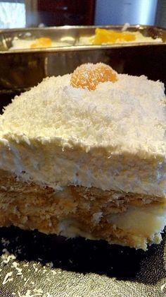 ΥΛΙΚΑ: 2 πακέτα μπισκότα Παπαδόπουλου, πτι μπερ 100 γραμμάρια κορν φλάουρ, 1 λίτρο γάλα φρέσκο, 1 φλιτζάνι τσαγιού ζάχαρη, 1 βανίλ... Greek Sweets, Greek Desserts, Party Desserts, Greek Recipes, Cookbook Recipes, Sweets Recipes, Candy Recipes, Cooking Recipes, Sweets Cake