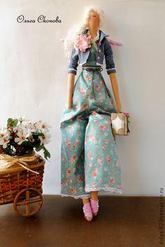 I love the flowery pants. They are sooo cute! Куклы Тильды ручной работы. Ярмарка Мастеров - ручная работа Ангел в стиле Тильда Scarlett.. Handmade.