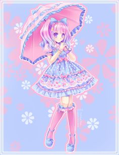 This is a rather pretty Lolita girl that actually looks like a bona fide Lolita. Very cute! I love the pastel colors used throughout the whole artwork.