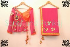 pink and  orange ....its deadly combo  saree  choli  blouse with  beautiful  gottapatti    Shop from our website sonalandpankaj.com   Whatsapp for further details on +919669166763   followme