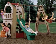 Childrenu0027s Backyard Playhouse Climber With Slide And Swing Set In Natural  Colors With Dutch Door And