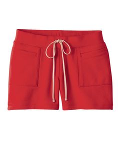 Red Patch Pocket Cotton Shorts with Tie Waist from Chicnova