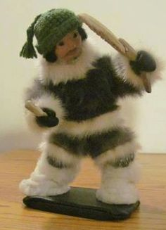 Inuit made drummer w/ fur clothing via Christina Angootealuk